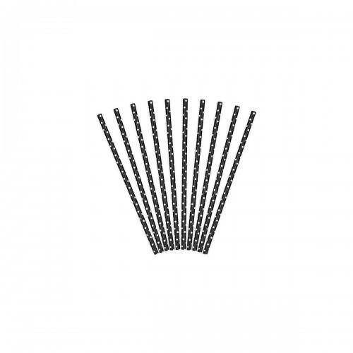 PartyDeco Słomki papierowe, czarny, 19,5cm SPP2-010