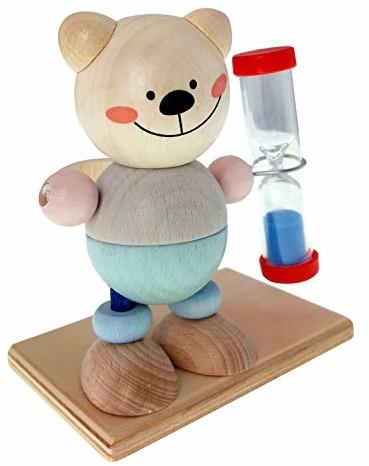 Hess-Spielzeug Hess drewniana zabawka 14532 zegar do szczoteczki do zębów z drewna, niedźwiedź naturalny, klepsydra z kolorowym piaskiem dla dzieci, ok. 9 x 7 x 10 cm, kolorowy
