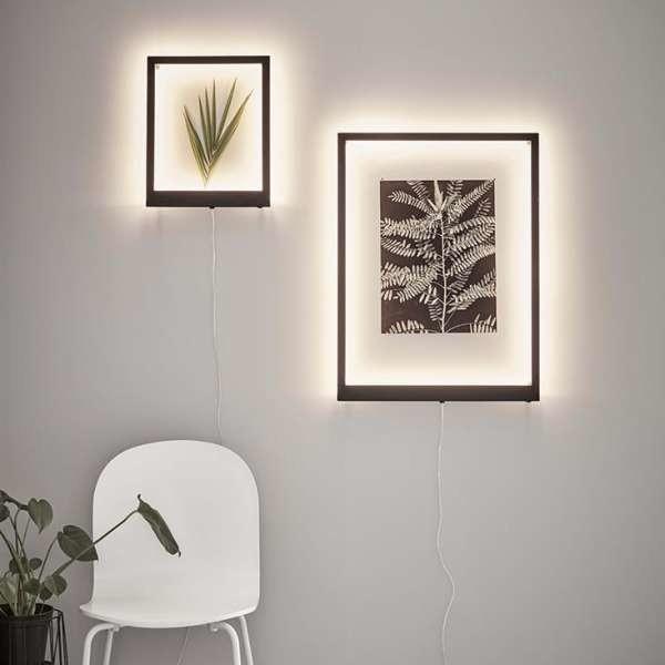 Markslojd Kinkiet LAMPA ścienna FRAME 107363 prostokątna OPRAWA metalowa LED 15W ramka czarna 107363