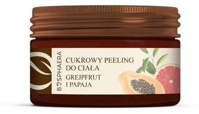 BOSPHAERA BOSPHAERA Cukrowy peeling do ciała Grejpfrut i papaja 200 g Do każdego rodzaju skóry
