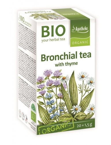 APOTHEKE (herbatki dla dzieci, dorosłych, błonnik HERBATKA NA OSKRZELA Z TYMIANKIEM BIO 20 x 1,5 g - APOTHEKE BP-8595178216664