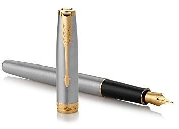 Parker Sonnet Stainless Steel fountain Pen (grubość sprężyn f) z części ozdobnych z pokryciem z złota o atrakcyjnym pudełku na prezent 1931504