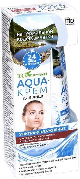 Fitokosmetik Aquakrem do twarzy Ultranawilżenie z wyciągami alg laminarii żeń-szenia i żurawiny do cery normalnej i mieszanej 45ml