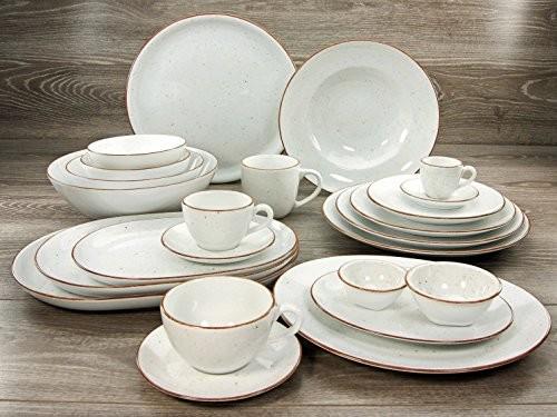Creatable 20317 seria Vintage Nature zestaw zastawa stołowa serwis łączony 16-częściowy, biały 20317