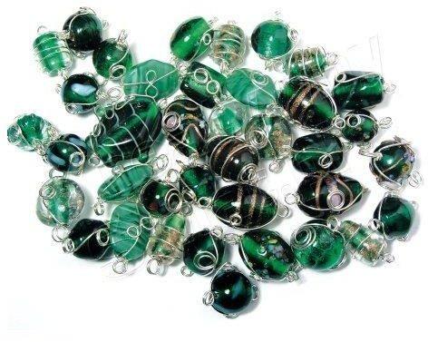 Koraliki szklane ze srebrnym drutem, szmaragd, op. 20 g [14-100-429] 14-100-429