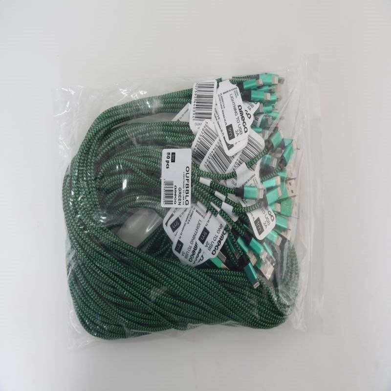Omega CORDYL FABRIC CABLE BRAIDED LIGHTNING TO USB 2A POLYBAG OEM 1M GREEN [44039] OUFBBLG
