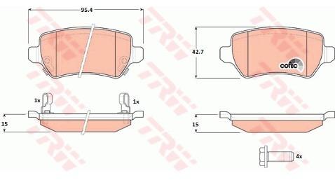 TRW Zestaw klocków hamulcowych, hamulce tarczowe GDB1515