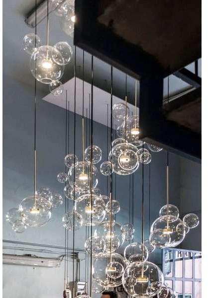 COPEL Wisząca LAMPA skandynawska CGBUBBLE6 COPEL szklana OPRAWA loftowy ZWIS kula LED 14W 3000K ball przezroczysta mosiądz CGBUBBLE6