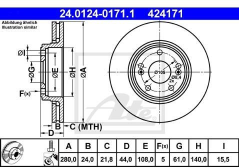 ATE TARCZA HAM 24.0124-0171.1 RENAULT ESPACE III 1.9DTI 99-02, 2.0 96-00, LAGUNA 1.6 16V 97-01  24.0124-0171.1