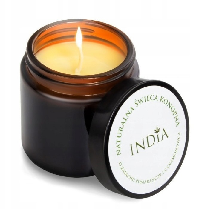 India Naturalna świeca konopna pomarańcza cynamon