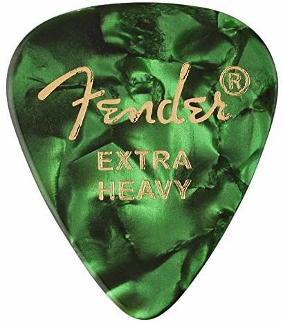 Fender 351 SHAPE CLASSIC PICKS celuloid Plektren - kształt: 351 - opakowanie 12 sztuk - grubość: X-Heavy - kolor: Green Moto 1980351671