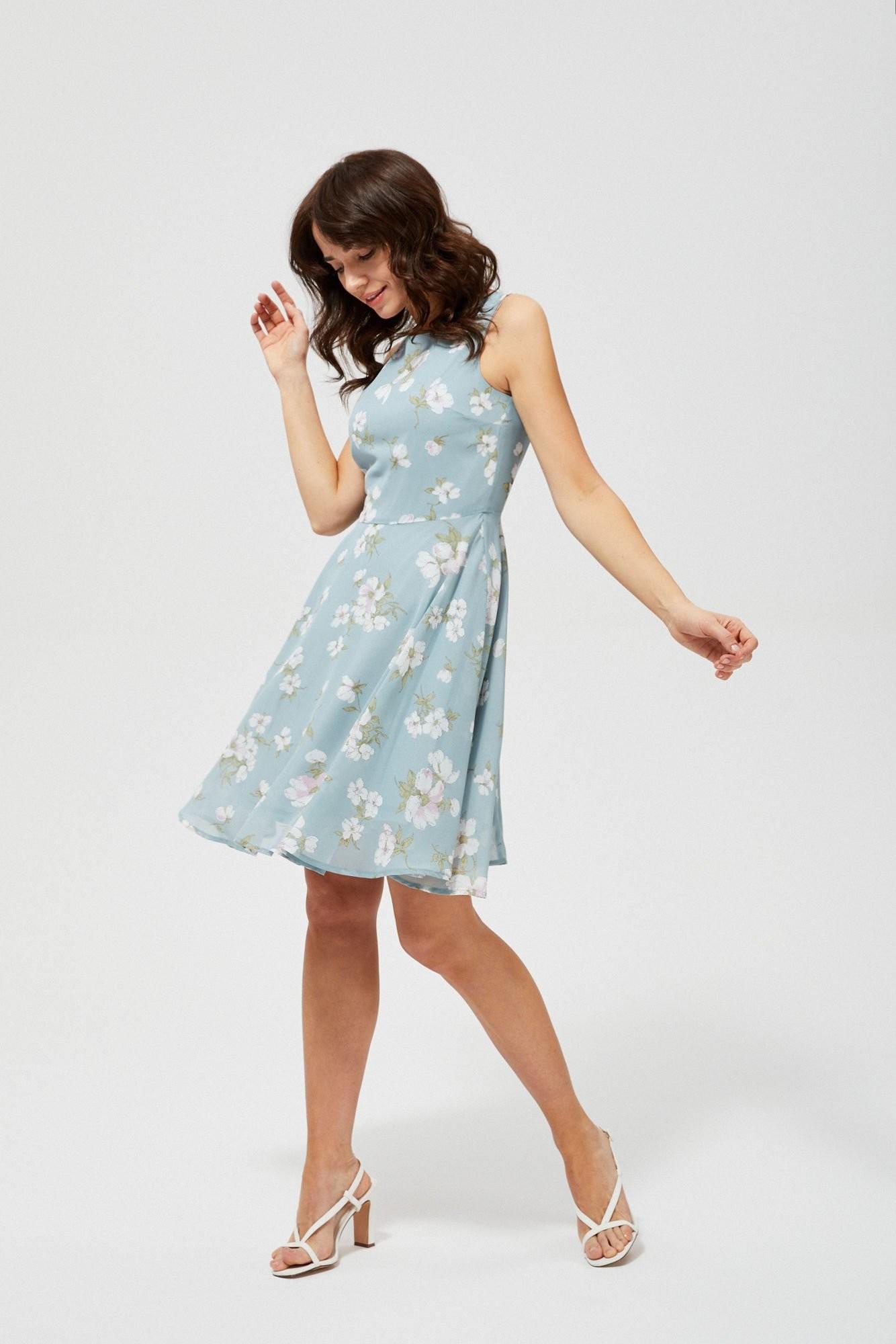 Moodo Sukienka w kwiaty L-SU-3143 MINT; XXL