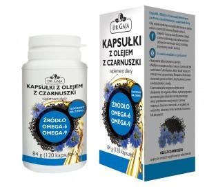 Dr Gaja Kapsułki z Olejem z Czarnuszki Dr Gaja tłoczonym na zimno, nierafinowanym, suplement diety, 84g (120 kapsułek) KAPSCZARNUSZKA