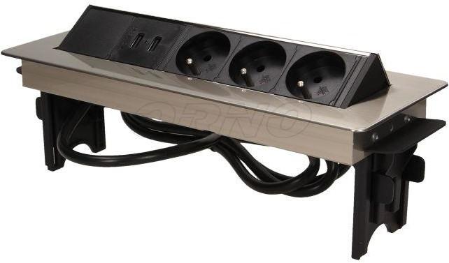 Orno Gniazdo wpuszczane w blat 3x250V w niklowanej obudowie z USB 1,8 m OR-AE-1364 OR-AE-1364