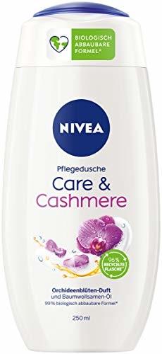 NIVEA Care & Cashmere pielęgnujący żel pod prysznic (250 ml), zmysłowo pachnący żel pod prysznic z miękką jak aksamit pianką, bogaty w składniki kremowy żel pod prysznic z olejem z nasion bawełny