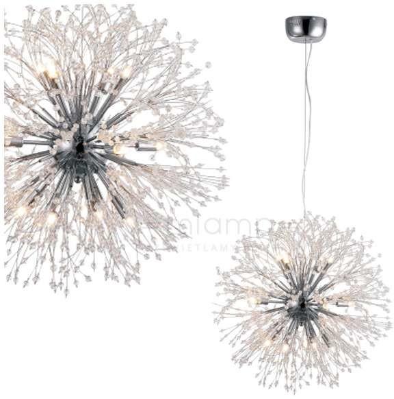 Milagro LAMPA wisząca FLASH 3702 zwieszana OPRAWA z kryształkami kula ball crystal glamour przezroczysta srebrna