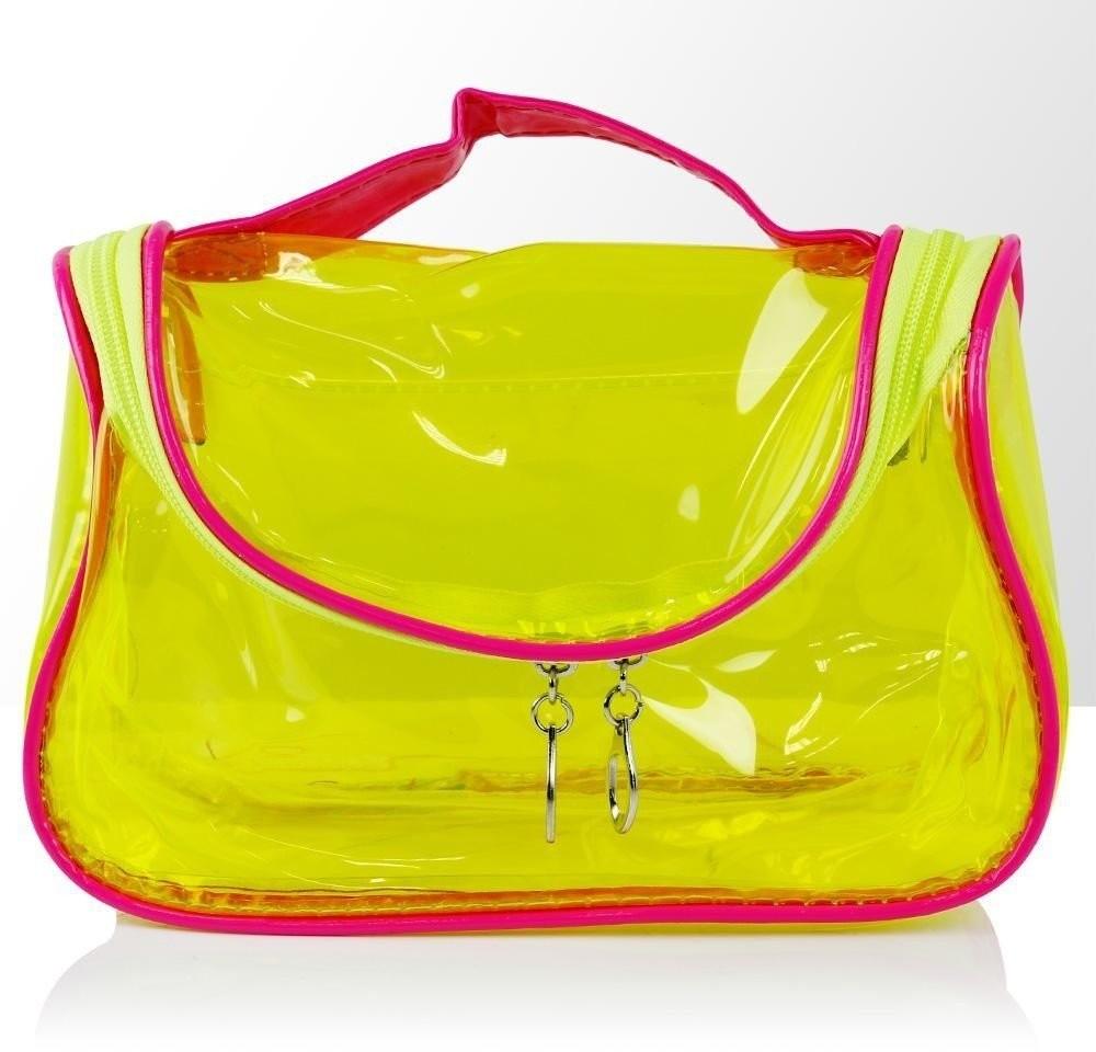 Vanity Kosmetyczka Turystyczna Żółto-Różowa Transparentna 101394