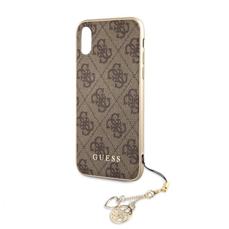 Guess 4G Charms Collection - Etui iPhone XR z zawieszką (brązowy) GUHCI61GF4GBR