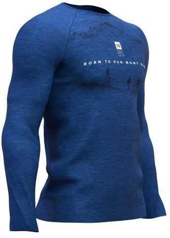 CompresSport Męska koszulka biegowa z długim rękawem Training T-Shirt Mont Blanc 2019 niebieska