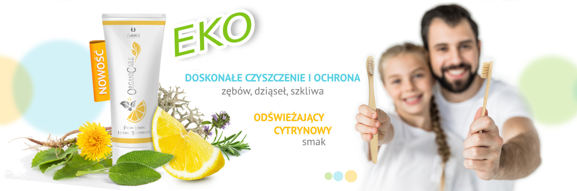 Kosmetyki CaliVita OrganiCare Fresh Lemon Herbal Toothpaste 75 ml Odświeżająca ziołowa pasta do zębów o smaku cytrynowym CC0031