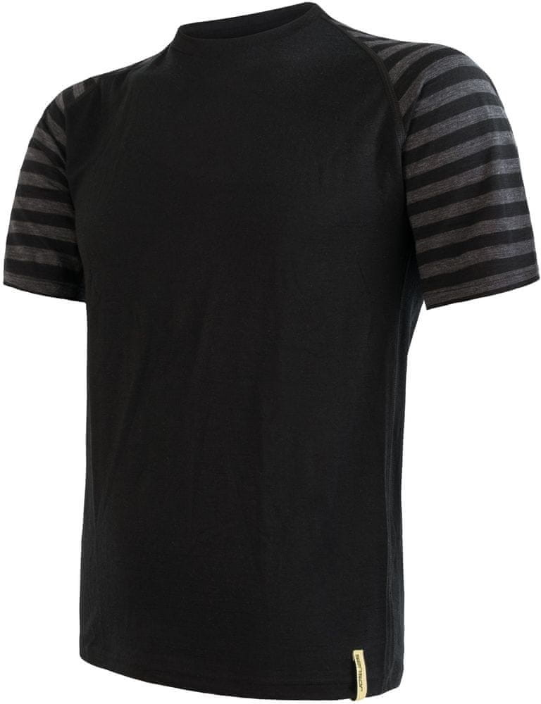 Sensor koszulka męska Merino Active z krótkim rękawem czarna/ciemnoszara paski S