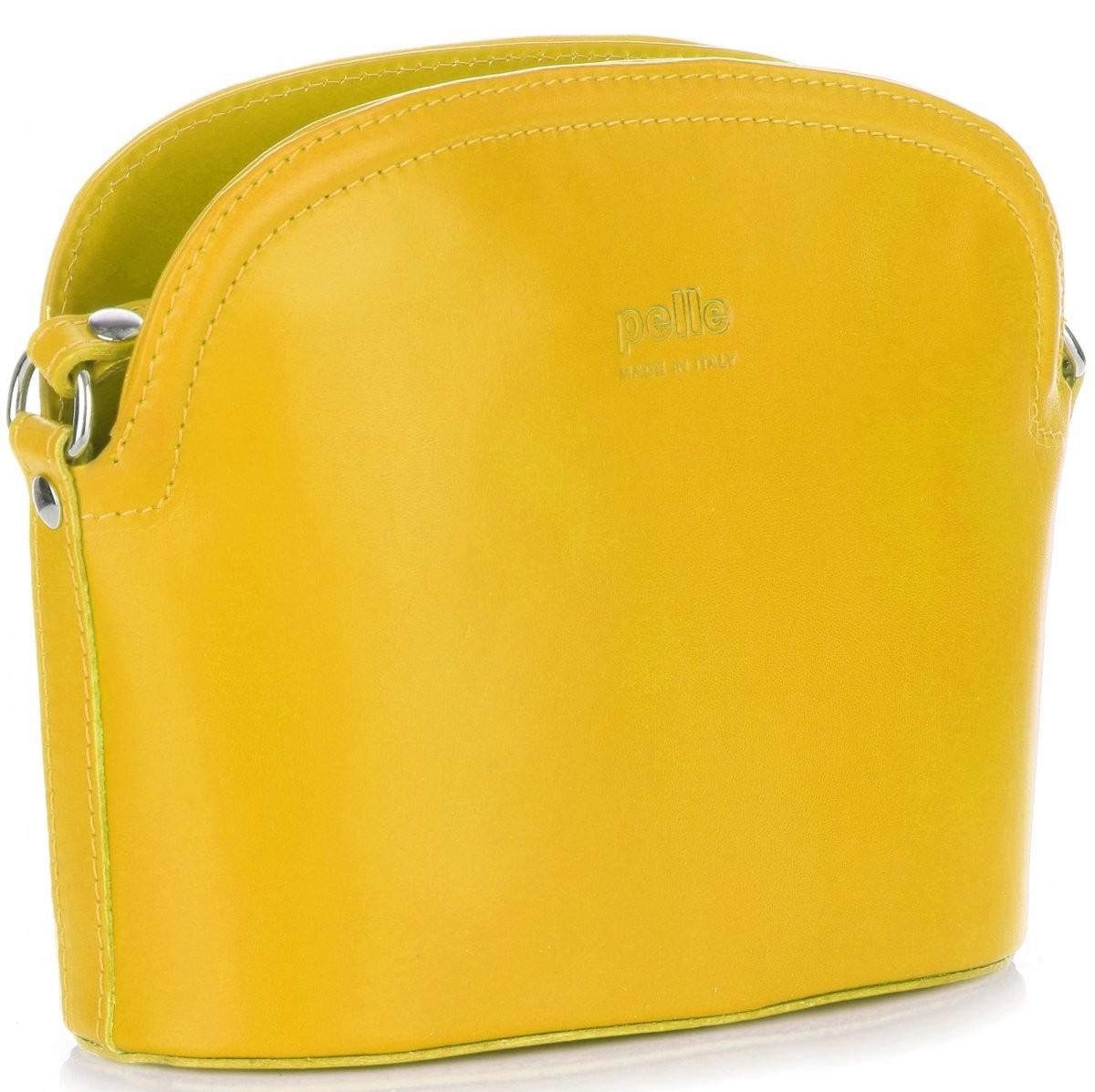 d82d7220365b8 Genuine Leather Włoskie Torebki Skórzane Listonoszki firmy wykonane z  Wytrzymałej Skóry Licowej Żółta (kolory)