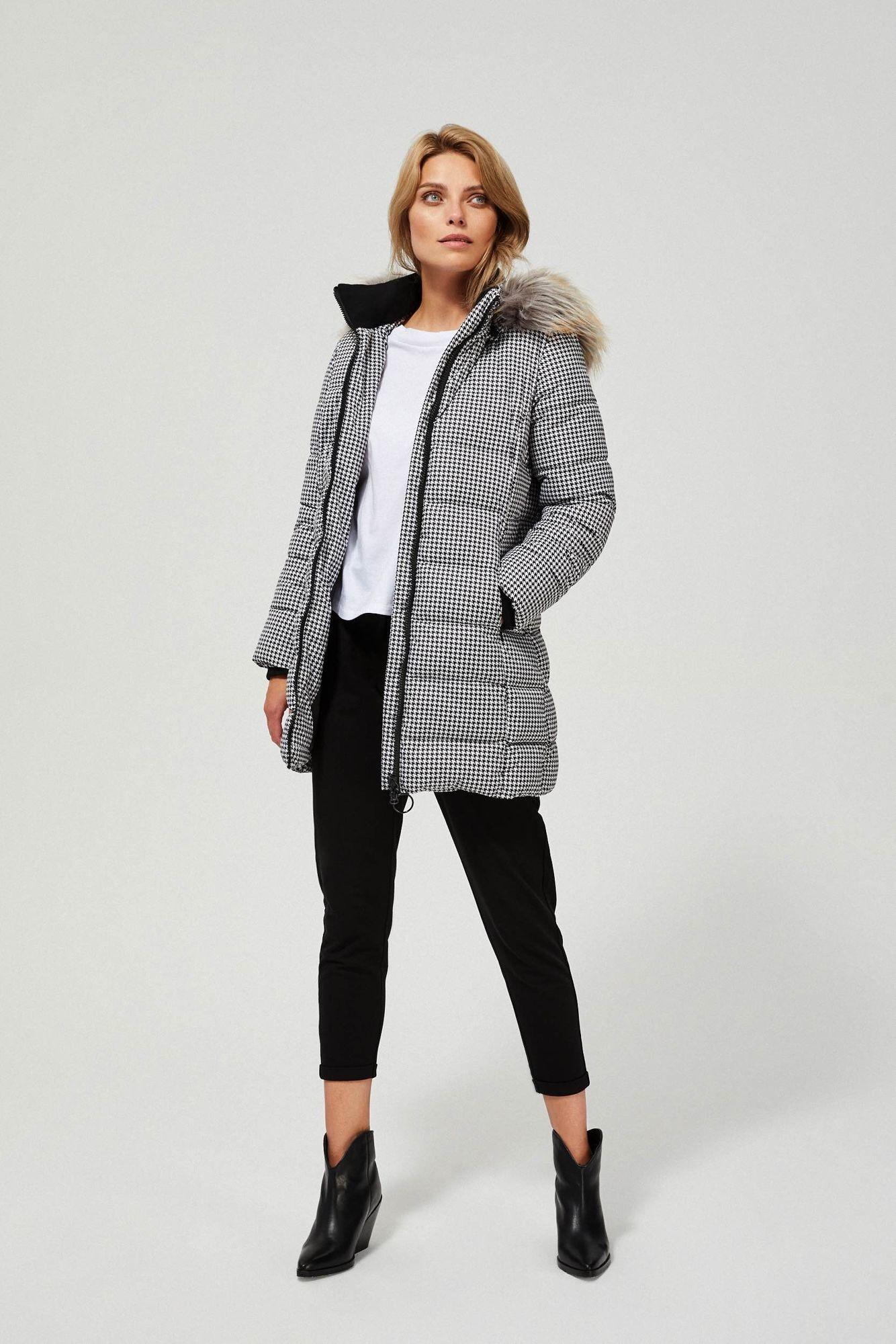 Moodo Pikowana kurtka z futerkiem Z-KU-3307 BLACK_WHITE; XXL