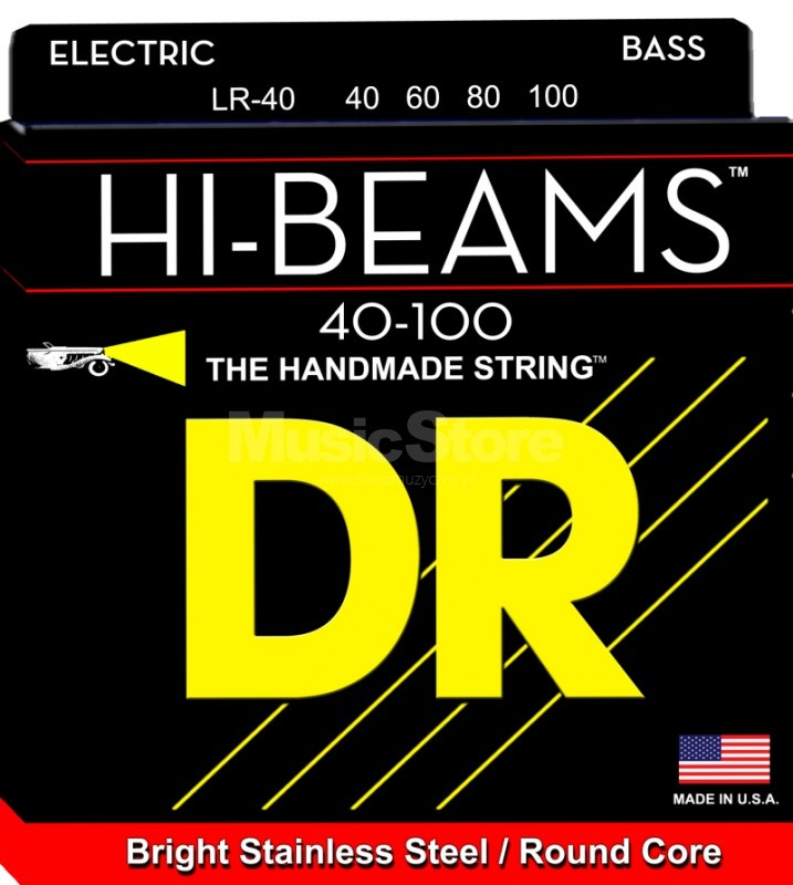 DR Strings hi-beam - lr-40 - Bass String Set, 4-String, Light, .040-.100