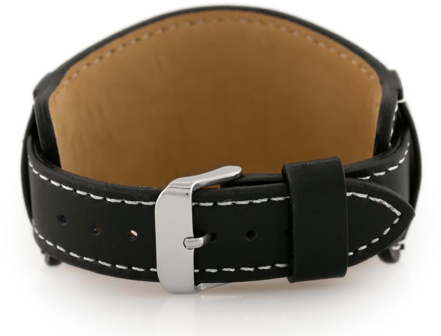 Pacific Pasek skórzany do zegarka W85 - podkładka - czarny/biały - 22mm hurtownia_tayma-9941