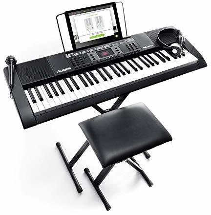 Alesis Melody 61 MKII przenośny zestaw keyboardowy pianino E z 61 przyciskami i wbudowanymi głośnikami, słuchawkami, mikrofonem, stojakiem na fortepian, stojakiem na nuty i taboretem Melody 61 MKII