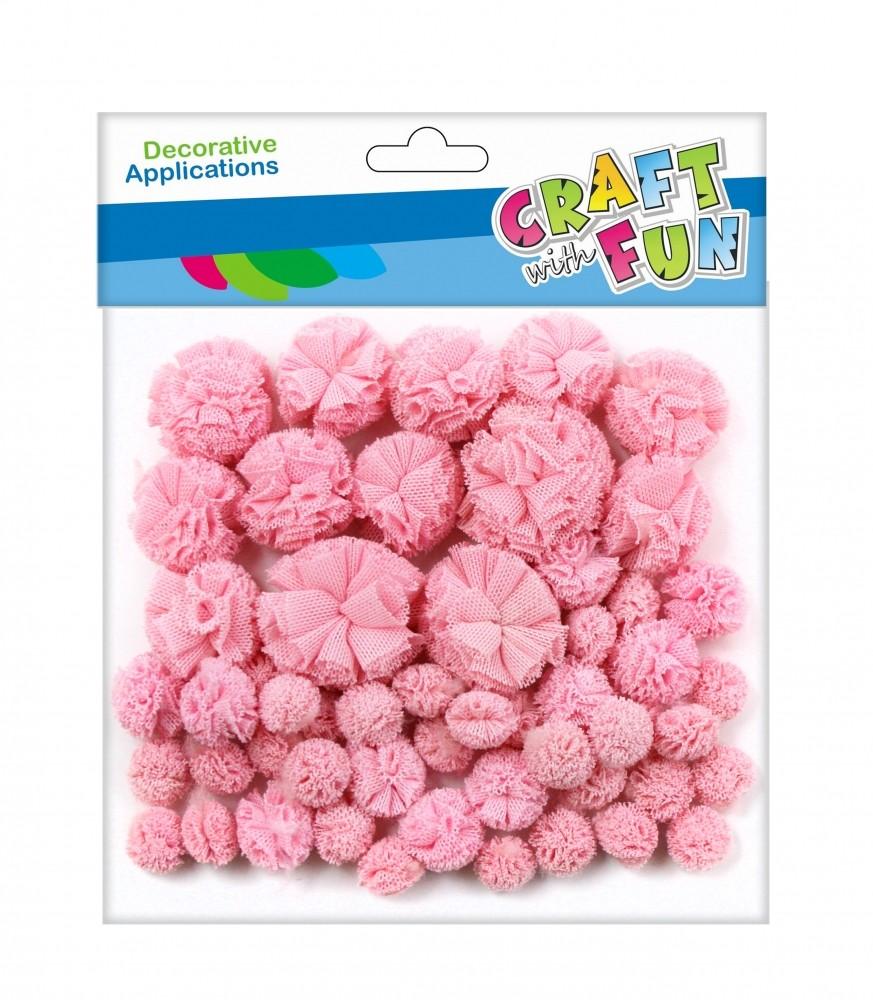Craft with Fun Ozdoba dekoracyjna Pompon Tkan 60szt Roz Mix 12/144