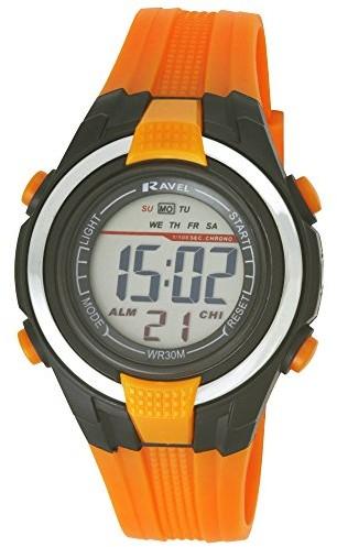 Ravel motravel chłopcy sportowa Cyfrowy zegarek na rękę wyświetlacz LCD, czarna obudowa, wodoszczelne tworzywo sztuczne Band Pomarańczowy RDG-18 (RDB-18)