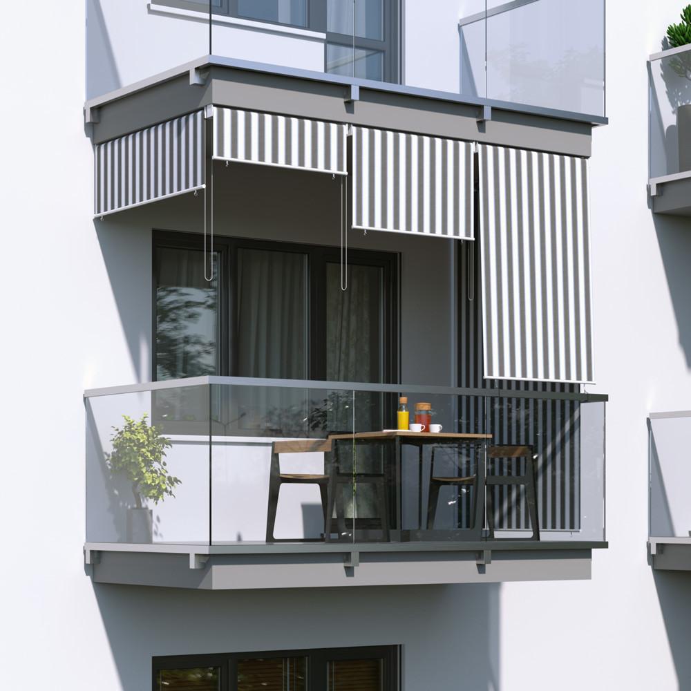 Jarolift Roleta na balkon/markiza pionowa, Szaro-biała, 120x140cm