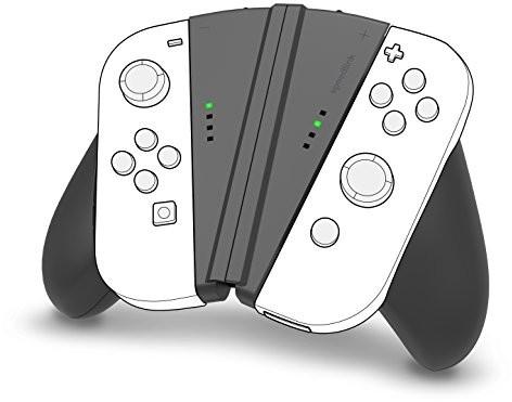 Nintendo SL-330602-BK V-Grip 2-w-1 uchwyt do Switch Joy-Cons czarny (niemiecki układ klawiatury) (INT-SL-330602-BK)