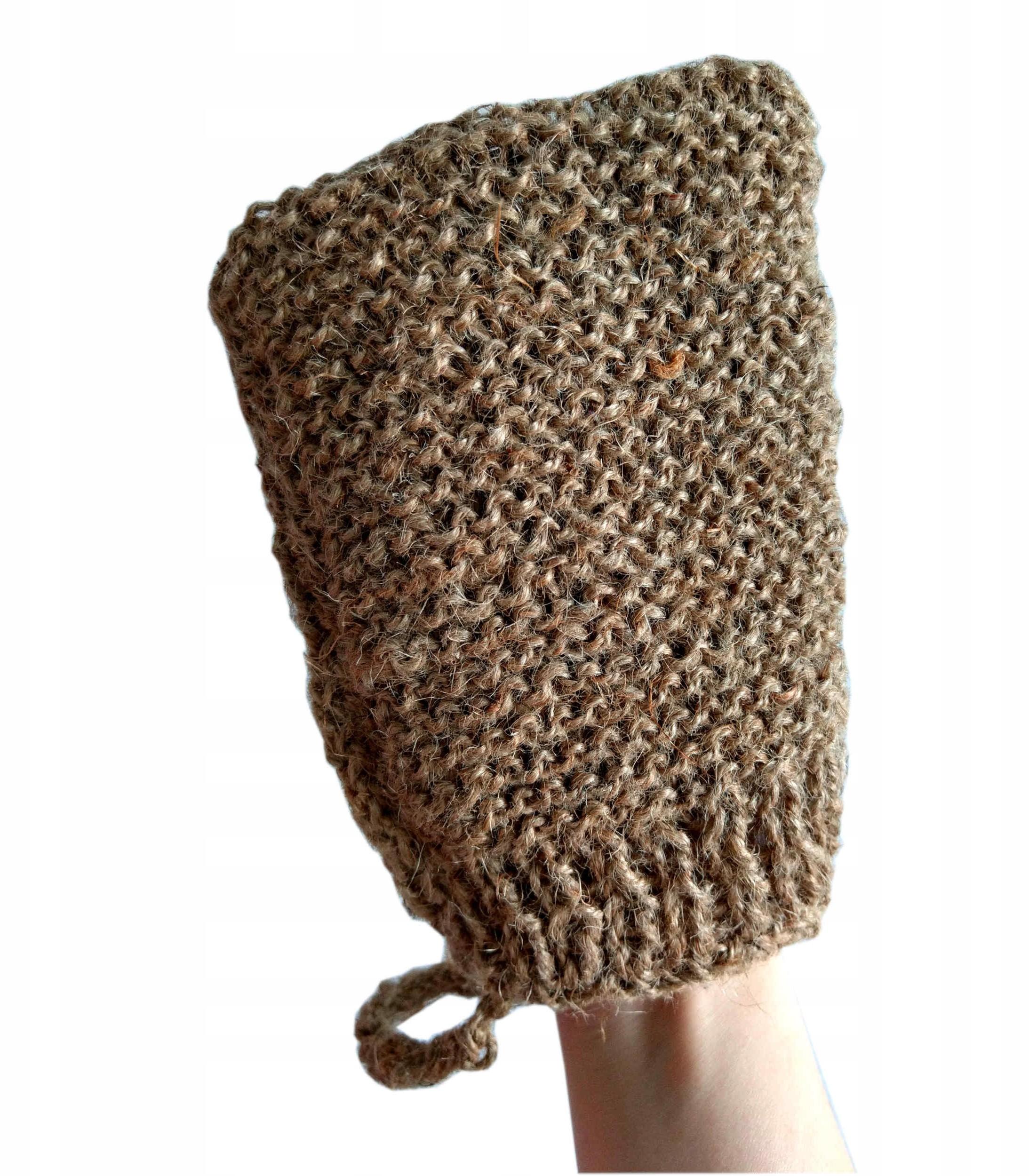 Naturalna rękawica do peelingu ze sznurka konopneg
