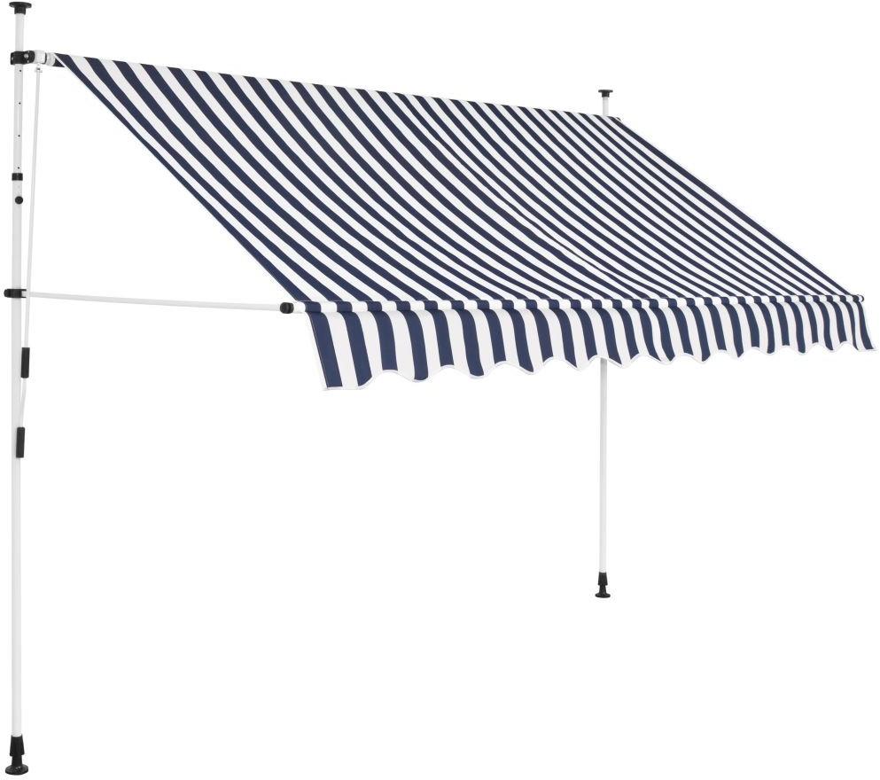 vidaXL Markiza zwijana ręcznie, 300 cm, niebiesko-białe pasy