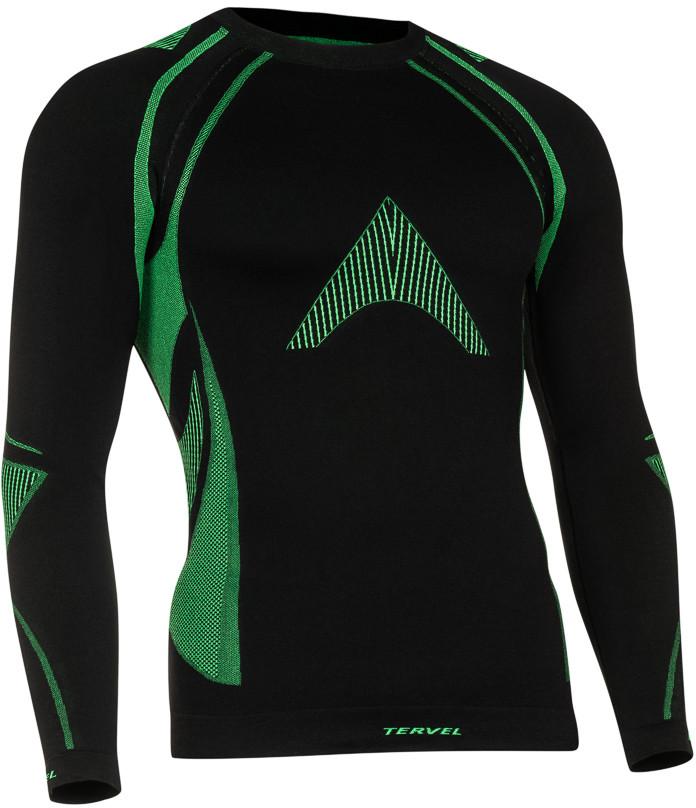 TERVEL OPTILINE MOD-02 męska koszulka termoaktywna z długim rękawem kolor Czarno-zielony
