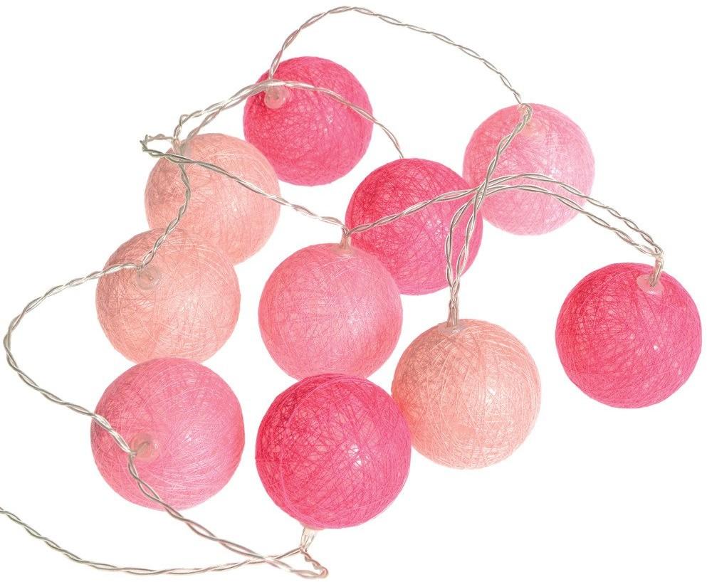 Atmosphera Girlanda w kształcie kul popularny dodatek w formie łańcucha z lampkami LED 116415-różowy