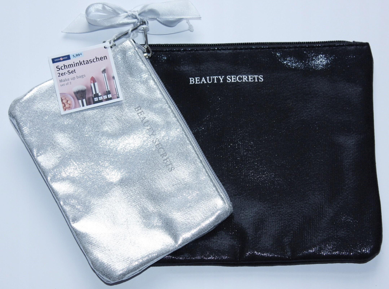 Beauty Secrets 2 x kosmetyczka czarna i srebrna
