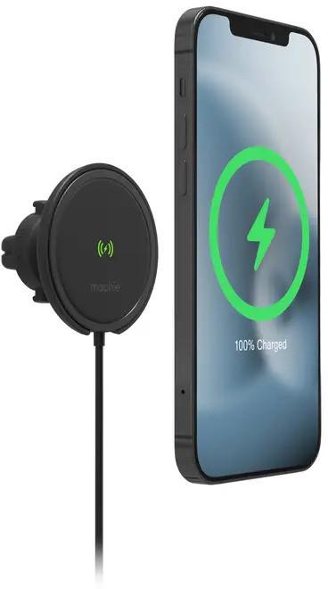 Mophie Snap+ Wireless Vent Mount Magnetyczny Uchwyt Samochodowy na Kratkę Nawiewu z Bezprzewodowym Ładowaniem Kompatybilny z MagSafe 15 W (Black)