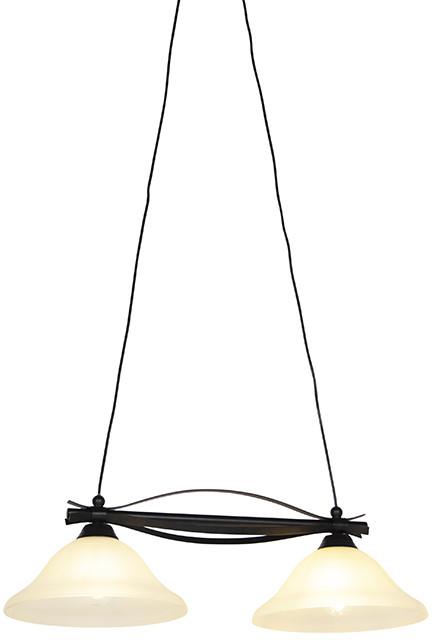 Honsel Klasyczna lampa wisząca brązowa z beżowym szkłem 2-lekkim - Pirata 99197