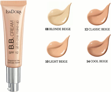 IsaDora B.B.cream 08 blonde beige all-in-one make-up 35 ml SPF 12 podkład do twarzy