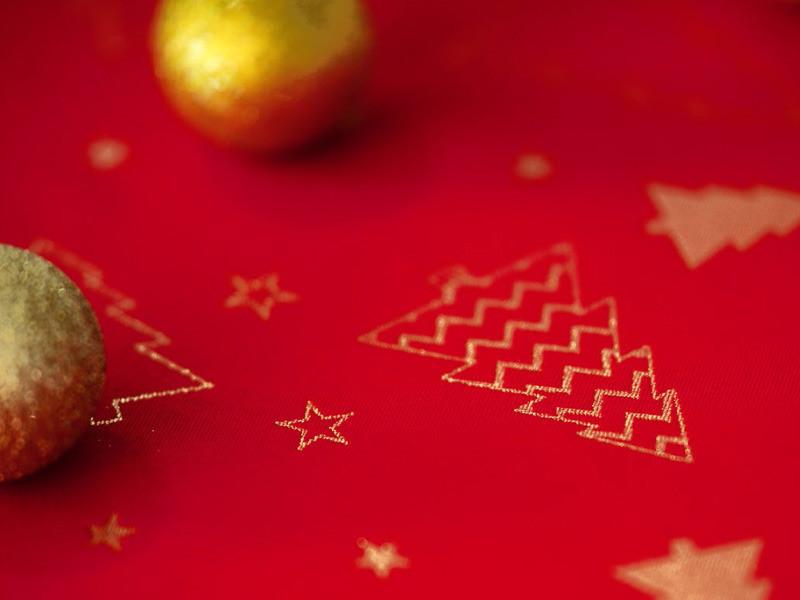 Euromat Dwustronny Obrus Plamoodporny Świąteczny Bożonarodzeniowy 2559 Czerwony Złoty Okrągłe 12251/Z2559RED
