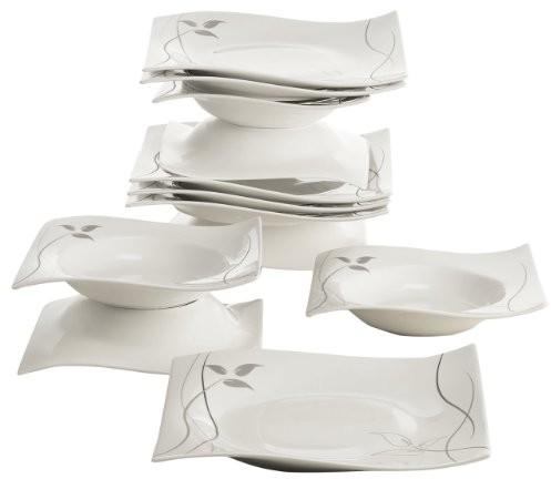 Maxwell & Williams rp70912 Leaves-in-Motion zestaw, serwis stołowy, zestaw naczyń stołowych, 12-częściowy, w eleganckim pudełku na prezent, porcelana RP70912