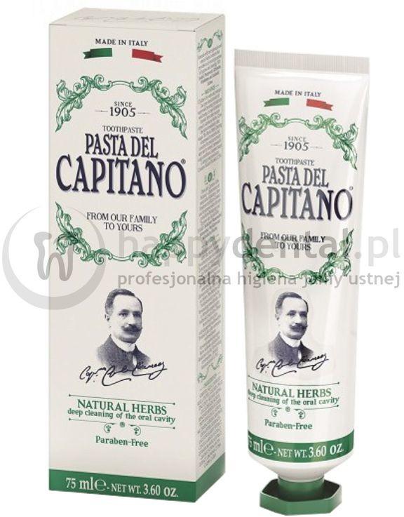 Ciccarelli PASTA DEL CAPITANO NATURAL HERBS 75ml (zielona) - włoska, ziołowa pasta do zębów z mikrogranulkami polerującymi szkliwo