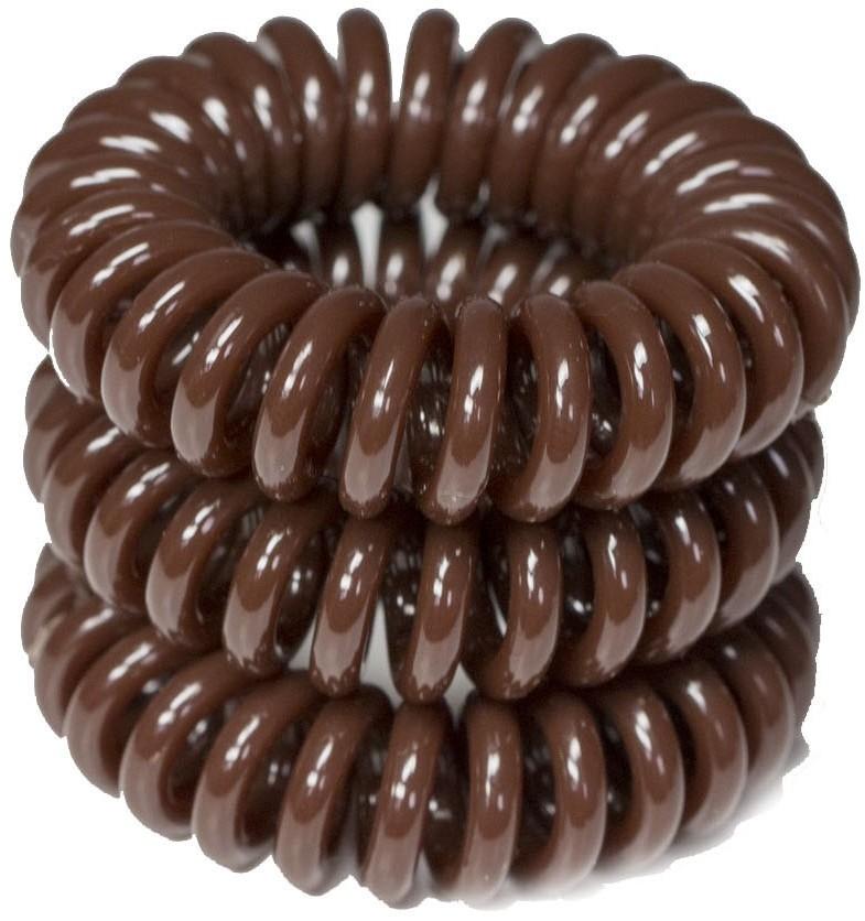 ronney RONNEY S11 MAT funny ring bubble - Profesjonalne gumki do włosów 3 sztuki 3,5 cm - brązowe