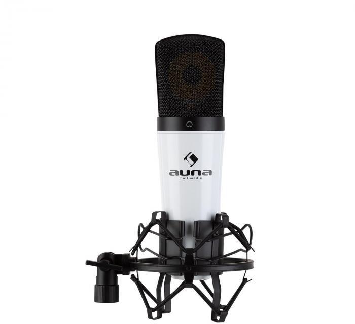 Auna MIC-920 USB, mikrofon pojemnościowy, USB, wyjście słuchawkowe, plug & play, biały HKMIC-Mic920 WhiteBk