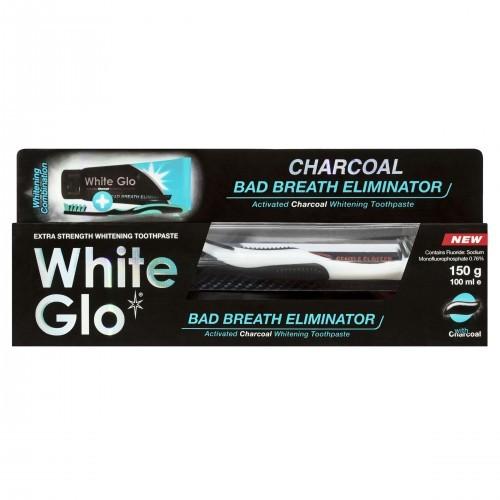 White Glo White Glo Charcoal Bad Breath Eliminator Pasta węglowa odświeżająca 100ml + szczoteczka