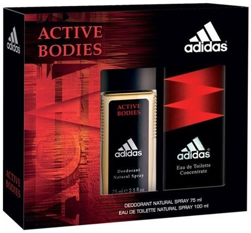 Adidas ACTIVE BODIES ZESTAW WODA TOALETOWA 100ML + DEZODORANT W SZKLE 75ML