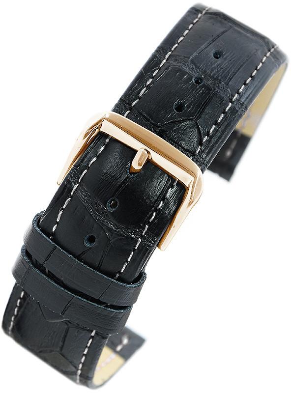 Pacific Pasek skórzany W100 do zegarka - w pudełku - czarny - biała nić - 22mm